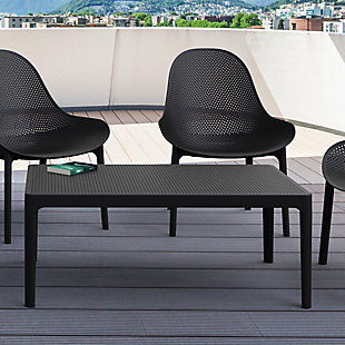 """Siesta 39"""" Outdoor Sky Lounge Table, Black, rollover"""