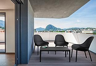 "Siesta 39"" Outdoor Sky Lounge Table, Black, large"