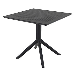"""Siesta 31"""" Outdoor Sky Square Table, Black, large"""