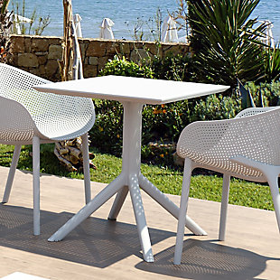 """Siesta 27"""" Outdoor Sky Square Table, White, rollover"""