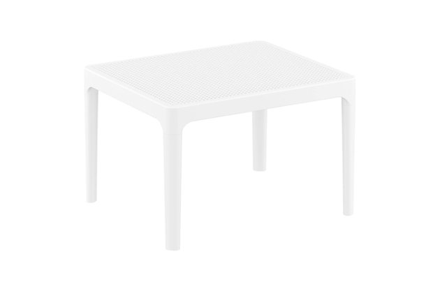 """Siesta 24"""" Outdoor Sky Side Table, White, large"""