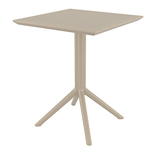 "Siesta Outdoor Sky Square Folding Table 24"" Taupe, Taupe, large"