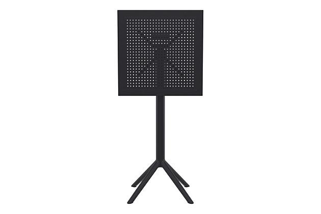 "Siesta 24"" Outdoor Sky Square Folding Bar Table, Black, large"