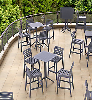 "Siesta 24"" Outdoor Sky Square Folding Bar Table, Dark Gray, rollover"