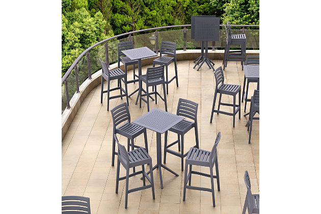 "Siesta 24"" Outdoor Sky Square Folding Bar Table, Dark Gray, large"