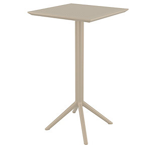 "Siesta 24"" Outdoor Sky Square Folding Bar Table, Taupe, large"