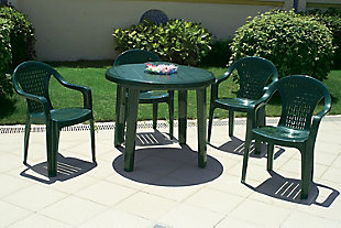 "Siesta 35.5"" Outdoor Sunny Resin Round Dining Table, , rollover"