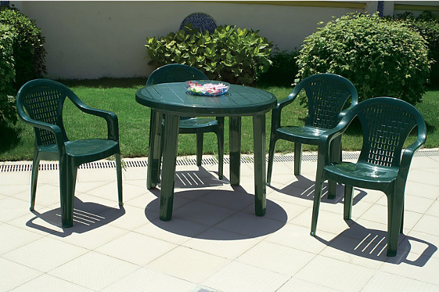 "Siesta 35.5"" Outdoor Sunny Resin Round Dining Table, , large"