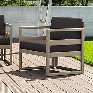 Siesta Outdoor Mykonos Patio Club Chair with Sunbrella Cushion, Taupe/Charcoal, rollover