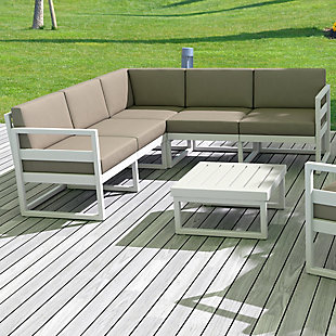 Siesta Outdoor Mykonos Square Coffee Table, White, large