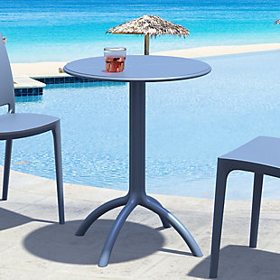 Siesta Outdoor Octopus Round Bistro Table, Dark Gray, rollover