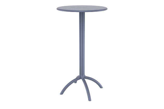 Siesta Outdoor Octopus Round Bar Table, Dark Gray, large