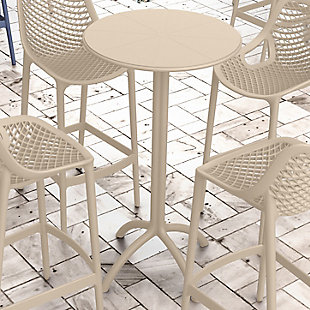 Siesta Outdoor Octopus Round Bar Table, Taupe, rollover