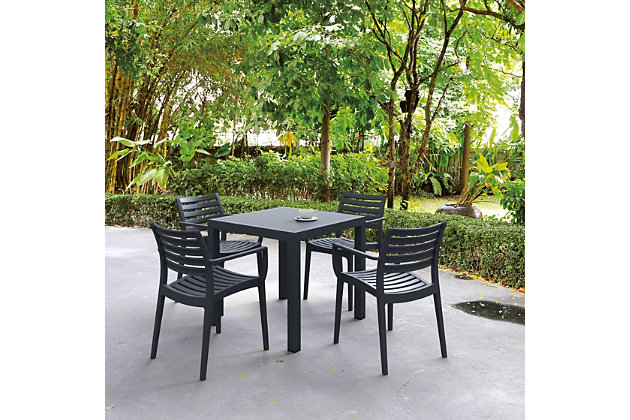 Siesta Outdoor Ares Resin Square Dining Table, Dark Gray, large