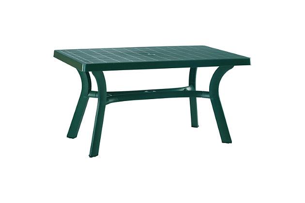 "Siesta 55"" Outdoor Sunrise Resin Rectangle Table, Green, large"