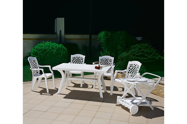 "Siesta 55"" Outdoor Sunrise Resin Rectangle Table, White, large"