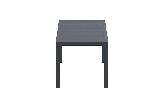 Siesta Outdoor Ares Resin Rectangle Dining Table, Dark Gray, large