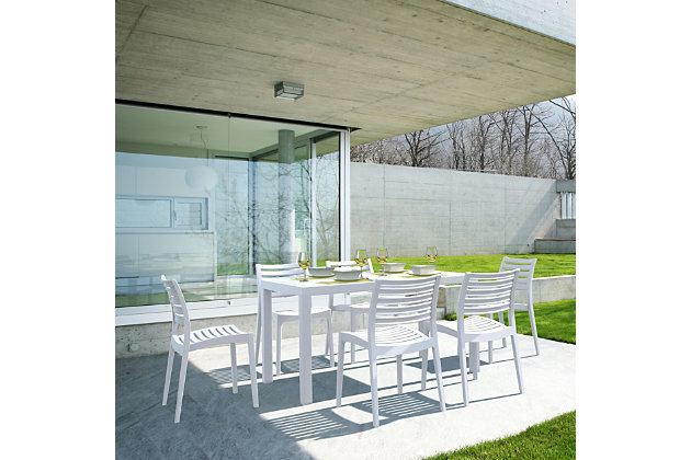 Siesta Outdoor Ares Resin Rectangle Dining Table, White, large
