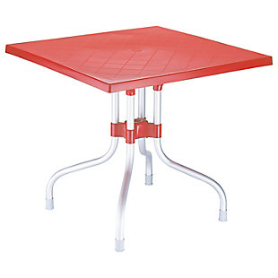 Siesta Outdoor Forza Square Folding Table, Red, large