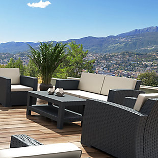 Siesta Outdoor Monaco Rectangle Patio Coffee Table, Dark Gray, large