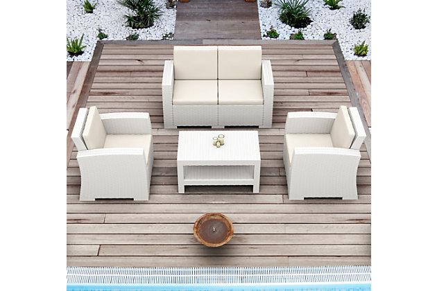 Siesta Outdoor Monaco Rectangle Patio Coffee Table, White, large