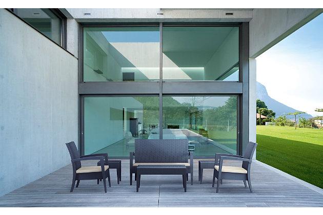 Siesta Outdoor Miami Rectangle Resin Coffee Table, Dark Gray, large