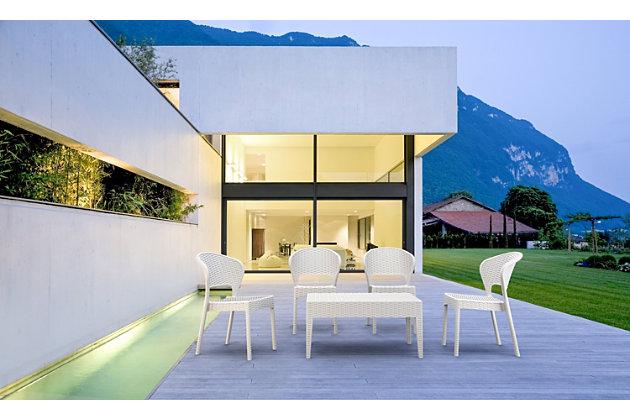 Siesta Outdoor Miami Rectangle Resin Coffee Table, White, large