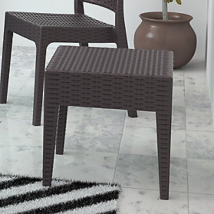 Siesta Outdoor Miami Square Resin Side Table, Brown, rollover