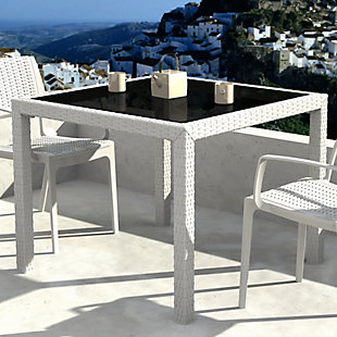 Siesta Outdoor Miami Resin Wickerlook Square Dining Table, White, rollover