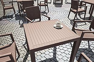 Siesta Outdoor Orlando Resin Wickerlook Square Dining Table, Brown, rollover