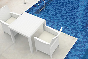 Siesta Outdoor Orlando Resin Wickerlook Square Dining Table, White, rollover