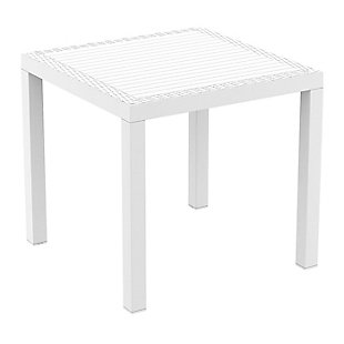 Siesta Outdoor Orlando Resin Wickerlook Square Dining Table, White, large