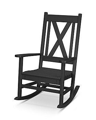 Braxton Porch Rocking Chair, Black, rollover