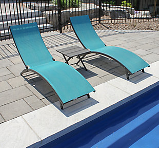Coral Springs 3-Piece Outdoor Aluminum Lounger Set Blue Hawaii, , rollover