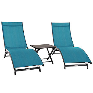 Coral Springs 3-Piece Outdoor Aluminum Lounger Set Blue Hawaii, , large