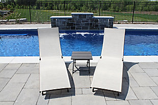 Coral Springs 3-Piece Outdoor Aluminum Lounger Set Pearl, , rollover