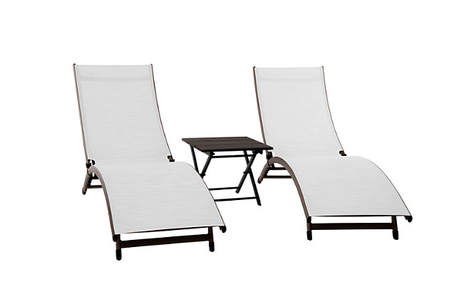 Coral Springs 3-Piece Outdoor Aluminum Lounger Set Pearl, Pearl, large