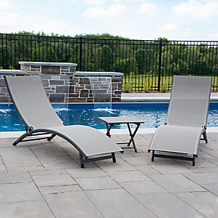 Coral Springs 3-Piece Outdoor Aluminum Lounger Set River Pebble, , rollover