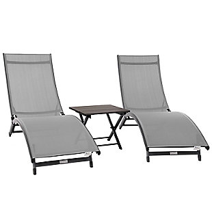 Coral Springs 3-Piece Outdoor Aluminum Lounger Set River Pebble, , large