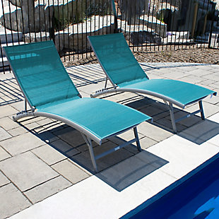 Clearwater 2-Piece 6 Position Outdoor Aluminum Lounger Set with Wheel Blue Hawaii, , rollover