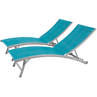 Clearwater 2-Piece 6 Position Outdoor Aluminum Lounger Set with Wheel Blue Hawaii, , large