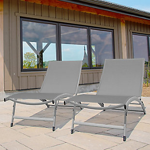 Clearwater 2-Piece 6 Position Outdoor Aluminum Lounger Set with Wheel River Pebble, , rollover