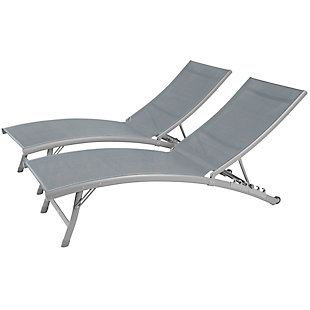 Clearwater 2-Piece 6 Position Outdoor Aluminum Lounger Set with Wheel River Pebble, , large