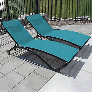 Glendale 2-Piece 5 Position Outdoor Aluminum Pool Lounger Set with Wheel and Pillow Blue Hawaii, , rollover