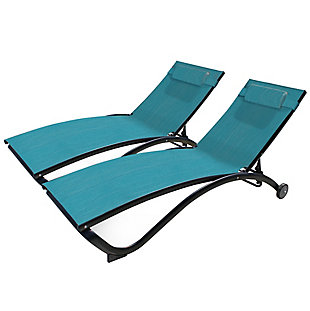 Glendale 2-Piece 5 Position Outdoor Aluminum Pool Lounger Set with Wheel and Pillow Blue Hawaii, , large