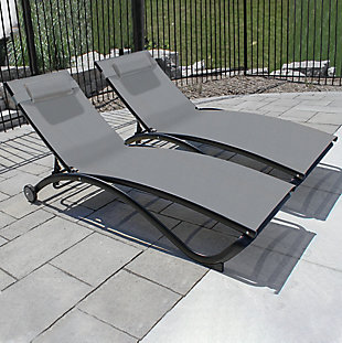 Glendale 2-Piece 5 Position Outdoor Aluminum Pool Lounger Set with Wheel and Pillow River Pebble, , rollover
