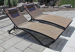 Glendale 2-Piece 5 Position Outdoor Aluminum Pool Lounger Set with Wheel and Pillow Granite, , rollover