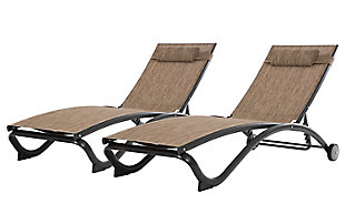 Glendale 2-Piece 5 Position Outdoor Aluminum Pool Lounger Set with Wheel and Pillow Granite, , large