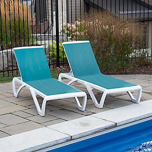 Monaco 2-Piece Outdoor Sun Lounger Set Blue Hawaii, , rollover