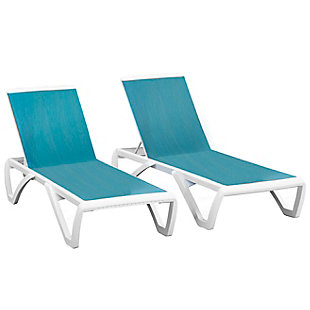 Monaco 2-Piece Outdoor Sun Lounger Set Blue Hawaii, , large